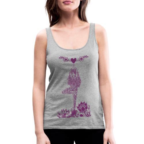 Yogagirl in Baum Asana mit Blumen und Herz - Frauen Premium Tank Top