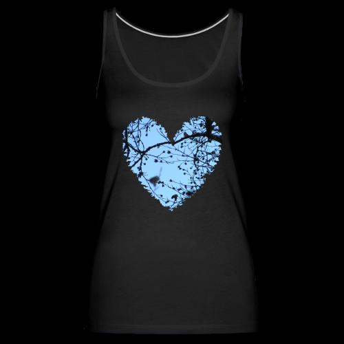 hart met boom takken en blauwe lucht, love t-shirt - Vrouwen Premium tank top