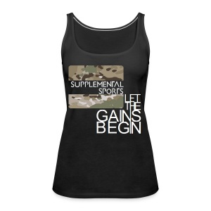 Let the gains begin camouflage design. - Women's Premium Tank Top