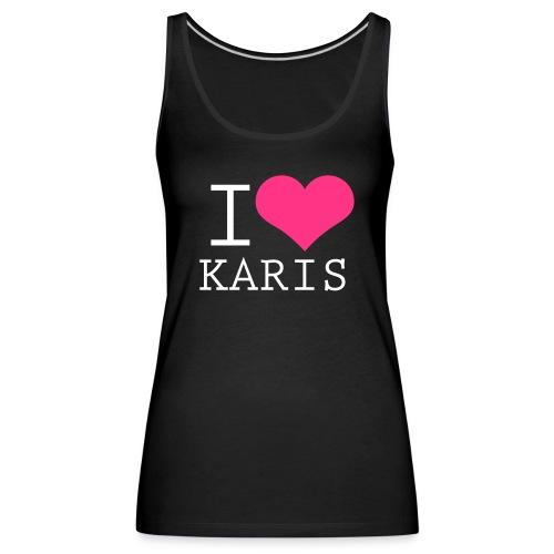 I heart Karis - valkoinen painatus - Naisten premium hihaton toppi