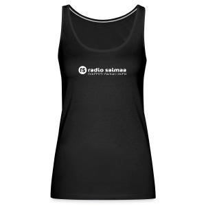 Radio Saimaa logo sloganilla valkoinen - Naisten premium hihaton toppi
