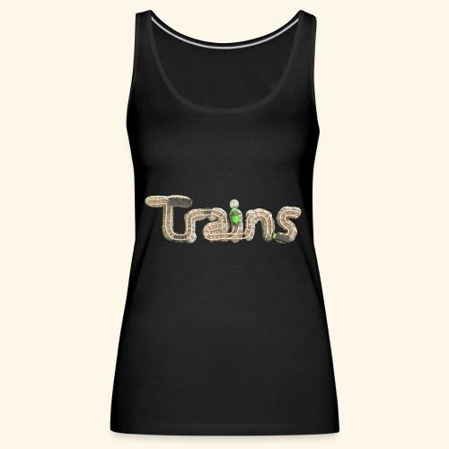 Colourful eagle eye's view of model trains - Women's Premium Tank Top