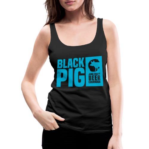 BlackPig Horizontal Bleu - Débardeur Premium Femme