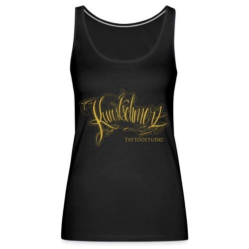 Kunstschmerz Logo Schrift gold - Frauen Premium Tank Top