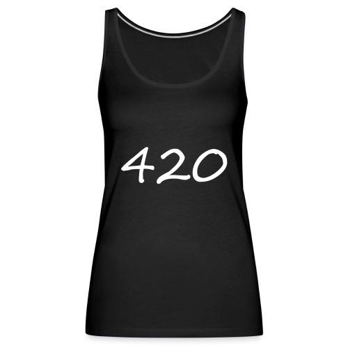 A hand drawn cannabis inspired 420 text logo - Women's Premium Tank Top