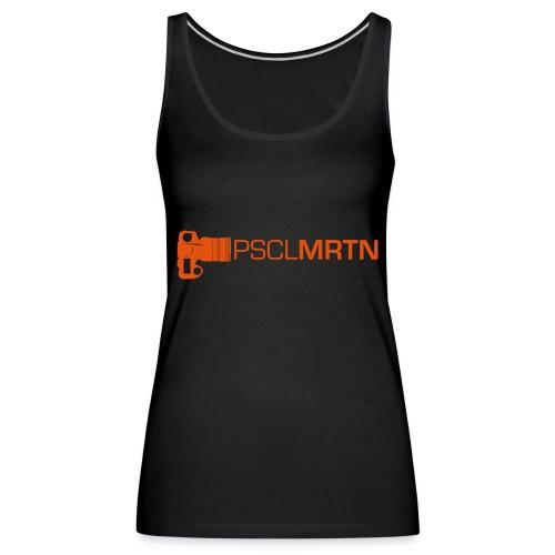 Black on Black with Orange Neck - Frauen Premium Tank Top