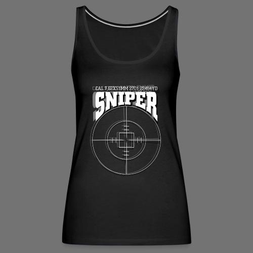 Sniper (valkoinen) - Naisten premium hihaton toppi