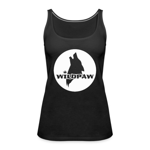 Wildpaw logo circular transparent mono WHITE - Women's Premium Tank Top