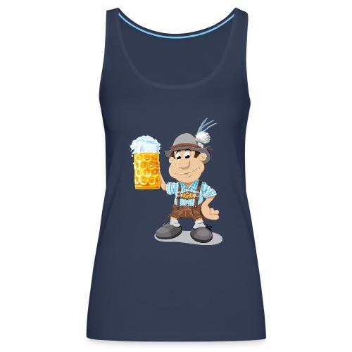 Bier Maßkrug Lederhosen Cartoon Man - Frauen Premium Tank Top