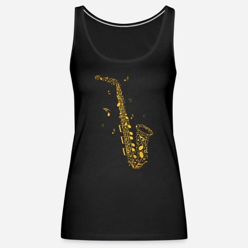 Goldenes Saxophon aus Musiknoten - Frauen Premium Tank Top
