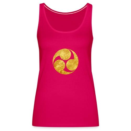 Kobayakawa Mon Japanese clan gold on black - Women's Premium Tank Top