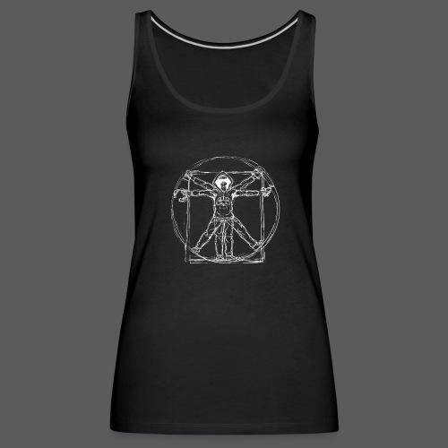 Vitruvian Gamer White Print - Frauen Premium Tank Top