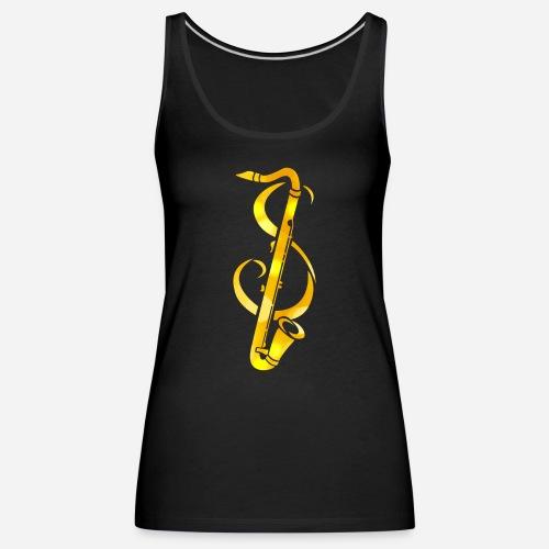 Goldenes Saxophone mit Notenschlüssel - Frauen Premium Tank Top