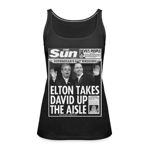 Elton Takes David Up The Aisle FP BW - Women's Premium Tank Top