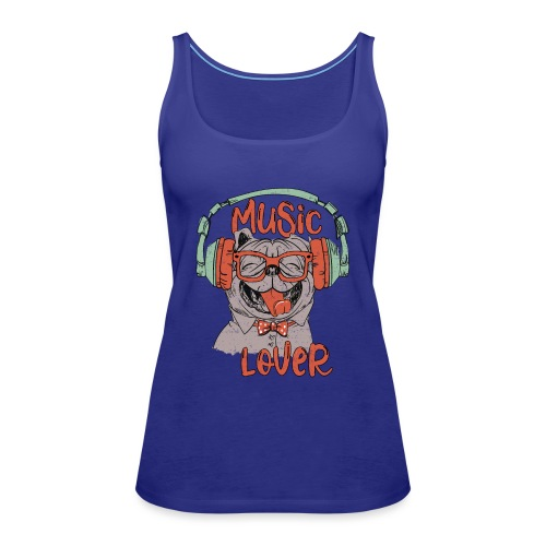 Music Lover - Happy Pug Dog Head Vintage style - Women's Premium Tank Top