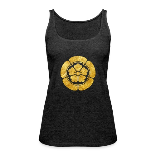 Oda Mon Japanese samurai clan faux gold on black - Women's Premium Tank Top