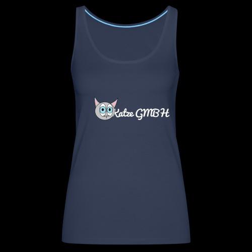 Katze GMBH Logo mit Schriftzug (Weiss auf dunkel) - Frauen Premium Tank Top