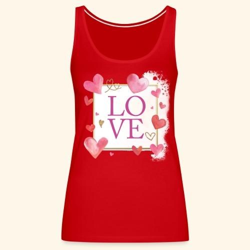 LOVE E HEARTS - Canotta premium da donna