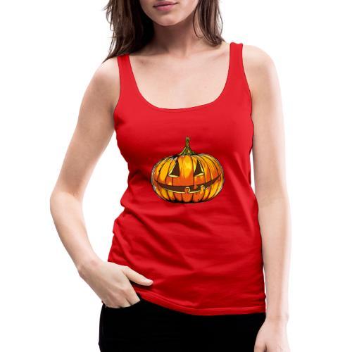 Halloween pumpkin head hand made comics art - Women's Premium Tank Top