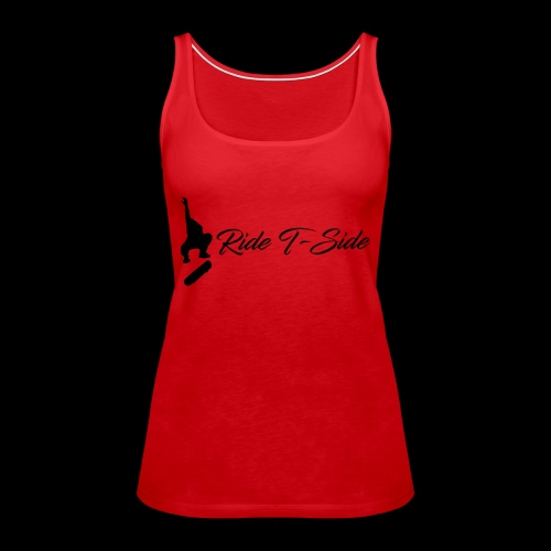 Ride T-Side - Skate Logo and Text - Black - Women's Premium Tank Top