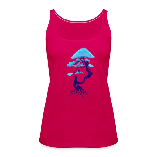 tree design dark blue and light blue (Bonsai) - Women's Premium Tank Top
