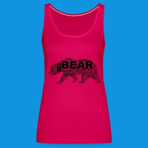 Bear Word Cloud black text - Women's Premium Tank Top