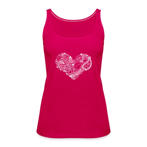 White Leaf Heart Mandala - Women's Premium Tank Top