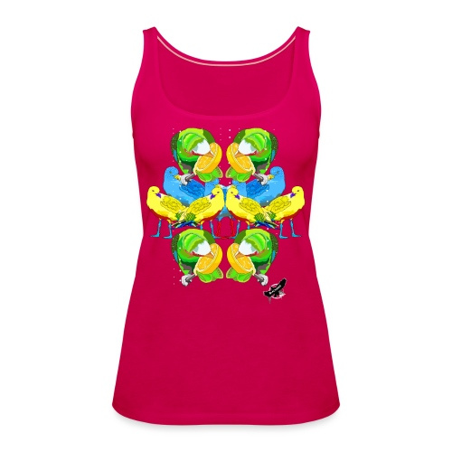 Birds Exotique by BlackenedMoonArts, w. logo - Dame Premium tanktop