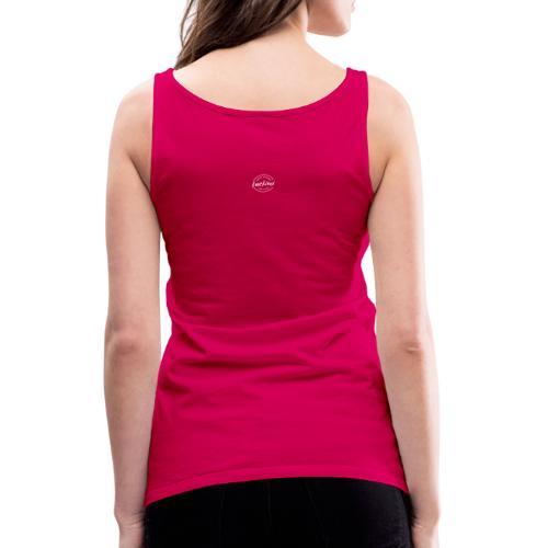 Luckimi logo white small circle on sleeve or back - Women's Premium Tank Top