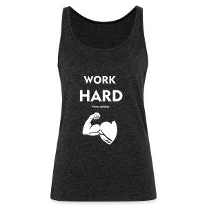 work_hard_white_logo - Vrouwen Premium tank top