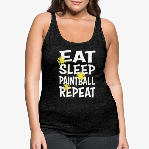 Eat Sleep Paintball & Repeat with splatter - Premiumtanktopp dam