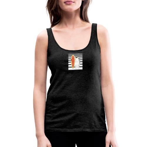 Pinguin mit Surfboard (Streifen) - Frauen Premium Tank Top
