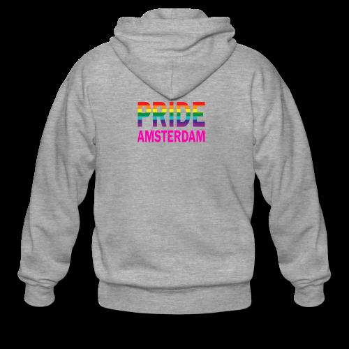 Pride Amsterdam in regenboog kleur en roze - Mannenjack Premium met capuchon
