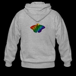 Regenboog vlinder - Freedom, Love en Happiness - Mannenjack Premium met capuchon
