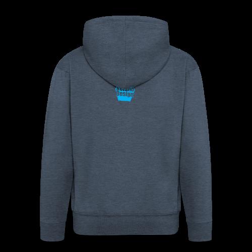 DelanoDesign - Logo Blauw - Mannenjack Premium met capuchon