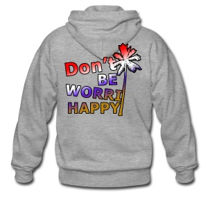 Don't be worri happy - Heren Shirt - Mannenjack Premium met capuchon