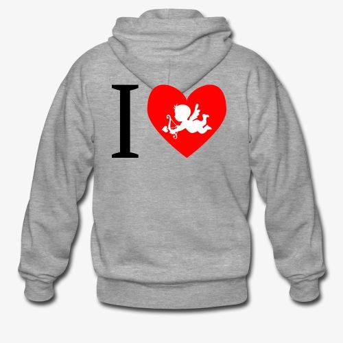 cupidon, rouge blanc noir, I love - Veste à capuche Premium Homme