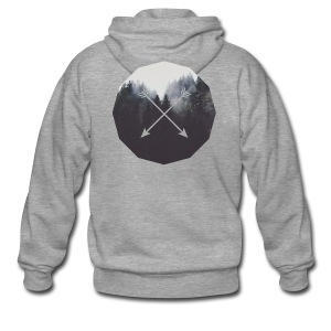 Misty Forest Blended With Crossed Arrows - Felpa con zip Premium da uomo