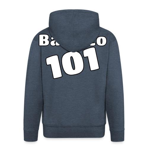Bamuco101 Big White Logo - Miesten premium vetoketjullinen huppari