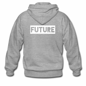 Future Clothing - Text Rectangle (White) - Men's Premium Hooded Jacket