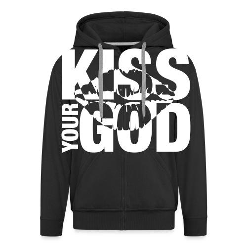 Kiss your God (weiß) - Männer Premium Kapuzenjacke