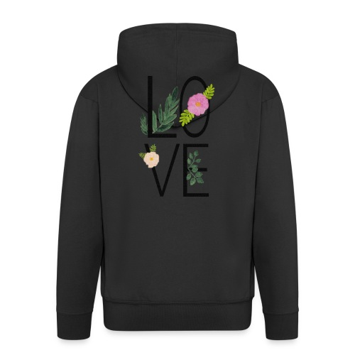 Love Sign with flowers - Men's Premium Hooded Jacket