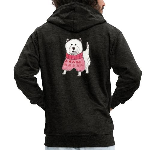 westie with sweater - Herre premium hættejakke