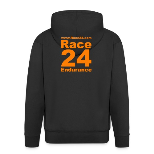 Race24 Logo in Orange - Men's Premium Hooded Jacket
