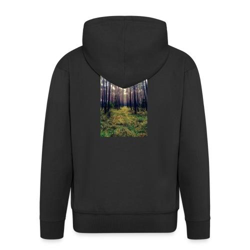 Las we mgle - Rozpinana bluza męska z kapturem Premium