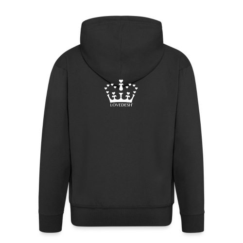 White Lovedesh Crown, Ethical Luxury - With Heart - Men's Premium Hooded Jacket