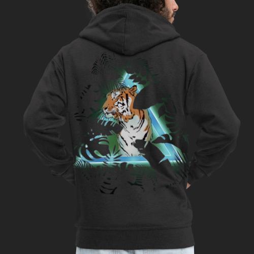 Tigre en soirée - Veste à capuche Premium Homme