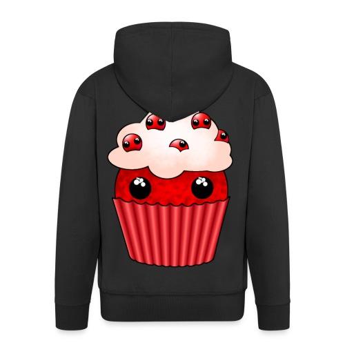 kawaii cupcake cranberry - Men's Premium Hooded Jacket