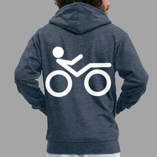 Recumbent bike white 2 - Miesten premium vetoketjullinen huppari