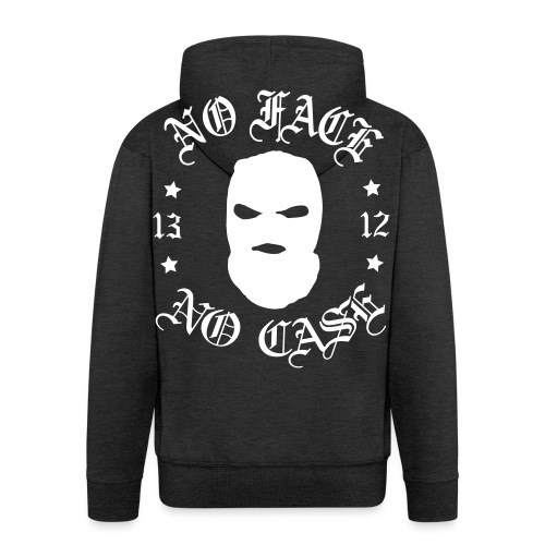 No Face, No Case - Skimask - pieni printti + selkä - Miesten premium vetoketjullinen huppari